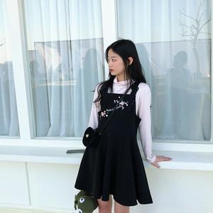 ANLI STYLE 2018新款刺绣学院风收腰无袖<span class=H>背带裙</span>连衣裙ins超火学生