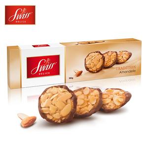 狄妮诗瑞士原装进口零食 扁桃仁牛奶巧克力香脆饼 饼干100g
