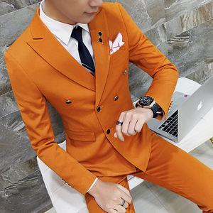 帅气五分袖西服套装男士夏装韩版修身时尚九分裤休闲小西装潮半袖