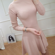 Dresses slim, other pure knitted sweaters big pendulum short new Korean version of women's wear one-word collar long sleeves