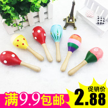 Wooden Big Sandhammer Baby Small Sandhammer Percussion Instrument Ring Bells 0-6 Months Baby Hand Ring Toys