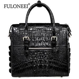 fuloneei2018新款鳄鱼皮商务公文包手提包职业<span class=H>男包</span>大容量公文包男
