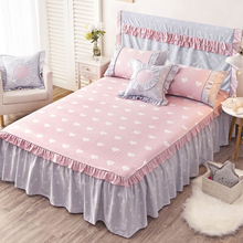 Cotton Bed Cover Bed Skirt Single Pure Cotton Bed Cover Korean Princess Bed Skirt Bed Ham Slip-proof Bed Skirt Lace Bed Sheet Cotton