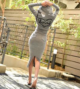 韩国春装女2019新款时尚休闲修身包臀长裙套装女 连帽<span class=H>卫衣</span>两件套