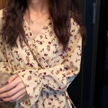 U77 Korean Fried Loose V-neck Butterfly Sleeve High waist Slim Tie Mid-long Dress Female Autumn