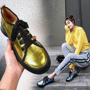 欧洲站金色厚底鞋女春季2019新款亮面<span class=H>女鞋</span>松糕平底个性单鞋子潮鞋