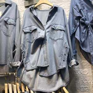 2019春季新款牛仔衬衫女<span class=H>上衣</span>长袖中长款宽松侧面系带休闲百搭外套