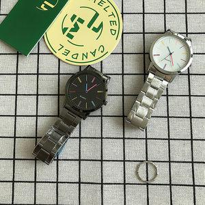 淘宝热卖独特彩色条钉刻度钢带女表 彩色时针分针百搭时装石英表