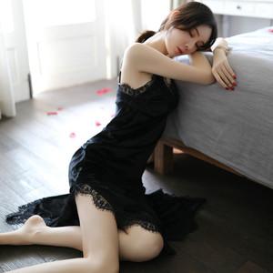 情趣睡衣女冬性感蕾丝金丝绒睡裙秋长款情调衣人骚午夜魅力公主风
