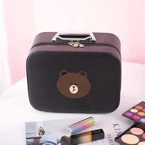 化妆包小熊抖音双层女旅游化妆品收纳盒手提镜子多功能便携收纳箱