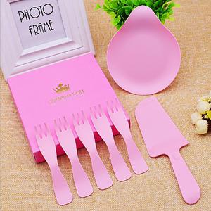 欧式盒装一次性生日蛋糕餐具套装碟子刀叉组合塑料盘包邮