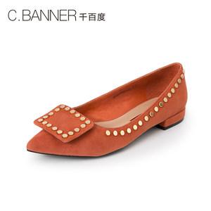 千百度女鞋春秋款铆钉绒面尖头浅口低跟<span class=H>单鞋</span>女士休闲鞋A8402502WX