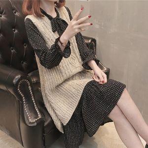 23<span class=H>套装裙</span>蝴蝶结系带两件套毛衣背心裙甜美喇叭袖气质淑女马甲连衣