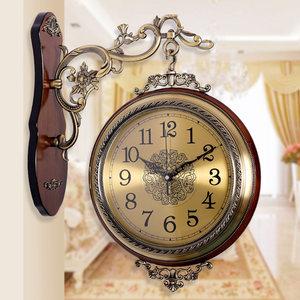 欧式实木金属双面挂钟静音客厅两面<span class=H>挂表</span>双面钟石英钟表创意墙钟