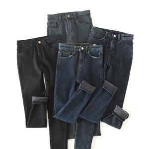 女士加绒加厚牛仔裤 棉弹小脚裤 休闲<span class=H>长裤</span> 冬装 显瘦k