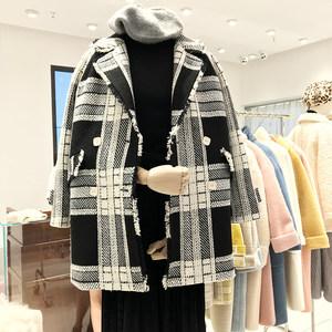 复古港味格子毛呢外套女中长款韩版秋冬装新款百搭气质呢子大衣女
