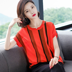 女子夏季款<span class=H>毛衣</span>套头针织衫<span class=H>外套</span>低圆领韩版女毛针织衫女士衣服。