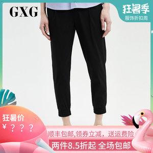 GXG<span class=H>男装</span> 夏季新品男士运动黑色时尚休闲束脚九分裤男#182802007