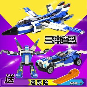 儿童军事玩具男孩益智组装机器人模型拼装插积木汽车飞机兼容乐高