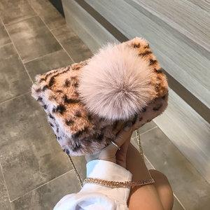 秋冬季毛毛包包女2018新款韩版毛绒链条包时尚豹纹百搭单肩斜挎包