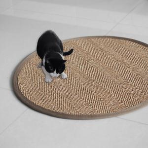 杜邦卫可剑麻<span class=H>地毯</span>圆形 地垫猫抓板磨爪门垫 手工麻草编织榻榻米垫