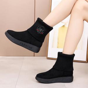 【清仓】老北京布鞋女靴平底内增高短靴厚底加绒保暖<span class=H>雪地靴</span>棉鞋
