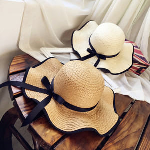 韩国<span class=H>草帽</span>女夏季沙滩帽波浪边亲子帽防晒太阳帽海边度假大檐沙滩帽