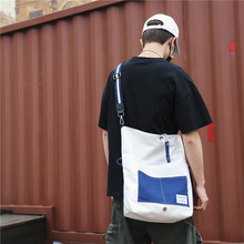 Lazy canvas bag slanting male ins undergraduate female fold collision color leisure large capacity class single shoulder bag