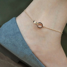 Korean Titanium Steel 14K Rose Gold-plated Footchain Women's Simple Double-Ring Footchain Fashionable and Non-fading Jewelry