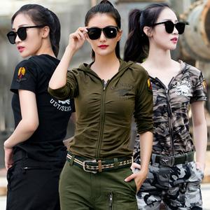 户外新款连帽军绿色长袖T恤女军迷显瘦迷彩战术水兵舞<span class=H>服装</span>上衣