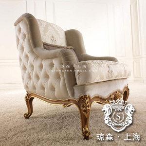 单人沙发 新古典 高端 绒布沙发 小奢华欧式 老虎椅 单人<span class=H>休闲椅</span>5F