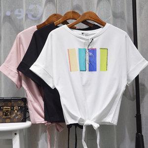 夏宽松大码蝙蝠袖下摆系带绑带显瘦短袖彩色几何图t恤罩衫女上衣