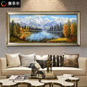 客厅油画山水风景风水手绘美式挂画欧式手工横版装饰画壁画聚宝盆