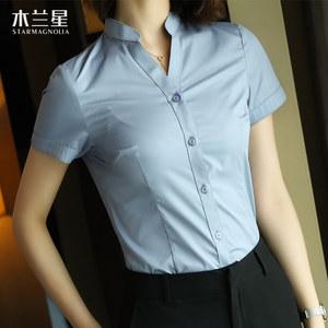 职业白衬衫女短袖2018夏季新款V领小立领<span class=H>衬衣</span>OL气质上衣正装寸衫
