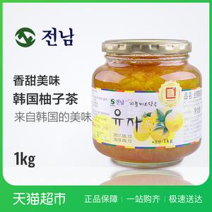 韩国进口<span class=H>冲饮</span> 全南 蜂蜜柚子茶 1kg  原装进口
