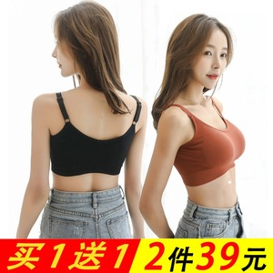 抹胸上衣露肩女外穿韩版内衣女学生打底少女性感黑色美背短款裹胸