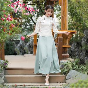 中式女装套装复古上衣中国风棉麻<span class=H>旗袍</span>茶服汉服春装女改良唐装民国