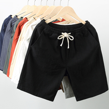 Cotton casual shorts, men's fashion is loose, five-point pants, flax sport, home 5-point mid-trousers, summer beach trousers, men's