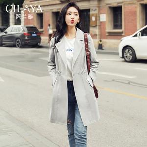 Cilaya/熙兰雅<span class=H>风衣</span>女中长款2018新款薄款<span class=H>女装</span>秋装复古外套 灰色