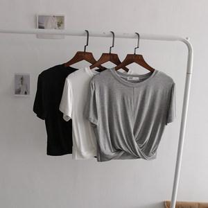 莫代尔打结短款t恤女个性夏季薄款露脐短袖纯色<span class=H>上衣</span>女修身显瘦tee