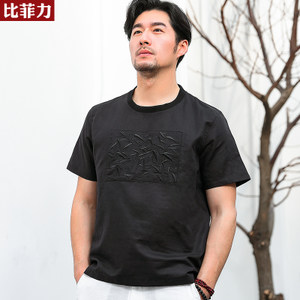 比菲力2019夏季新款棉麻短袖t恤男圆领<span class=H>竹子</span>刺绣图案亚麻黑色T恤潮