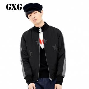 GXG<span class=H>男装</span>  男士修身<span class=H>时尚</span>休闲立领黑色拉链棉夹克#64221067