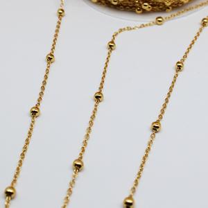 14K包金保色隔珠链条手工diy手链配件18k金色豆豆链子毛衣链材料