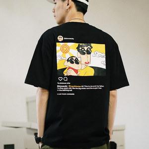 日系卡通动漫蜡笔小新野原新之助 趣味搞笑男女情侣纯棉<span class=H>T恤</span>短袖夏