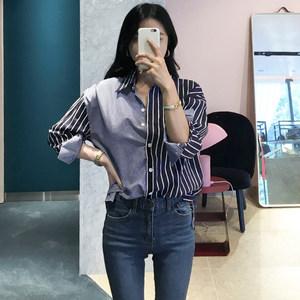 2018秋新女装拼接港味不规则<span class=H>衬衫</span>chic复古条纹不对称长袖显瘦上衣