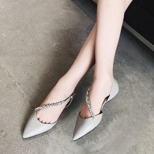 2018春夏新款尖头水钻链<span class=H>凉鞋</span>真皮平跟内增高中空女鞋韩版平底单鞋