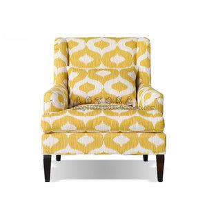 美式简约现代小户型客厅家具 黄色懒人布艺单人沙发 休闲躺椅定制