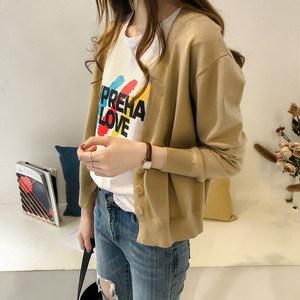 秋季女装新款chic港味V领针织<span class=H>开衫</span>女长袖上衣宽松大码毛衣外套潮