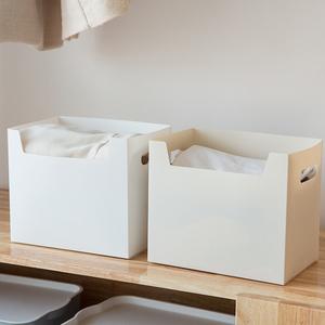 衣柜多功能分<span class=H>类</span>收纳篮筐塑料纸板桌面收纳盒 简约办公书本整理盒