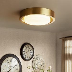 北欧卧室圆形LED吸顶灯客厅简约过道玄关<span class=H>阳台</span>走廊镀铜灯具
